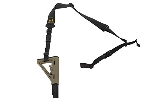 S2Delta - USA Made 2 Point Rifle Sling, Quick Adjustment, Modular Attachment Connections, Comfortable 2' Wide Shoulder Strap to 1' Attachment Ends (Black Sling, Pigtail Connector)