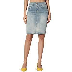 Women's  Pencil Knee Length Midi Stretch Soft Denim Skirt