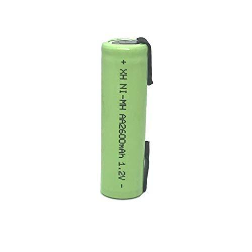 Batería Recargable AA de 1,2 V 2600 mah 2A Ni-Mh con lengüetas de Soldadura para afeitadora eléctrica Philips batería de Cepillo de Dientes 20PCS