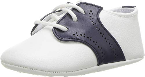 Janie and Jack Baby Boy's Saddle Crib Shoes (Infant) White 18-24 Months