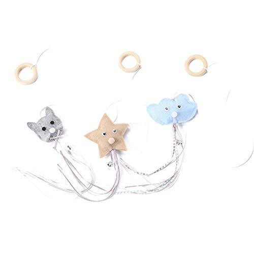 Balacoo 3 Piezas Juguete Teaser para Gatos Juguete Interactivo para Mascotas con Plumas de Borla Campanas de Anillo de Madera para Entrenamiento de Gatos Gatitos