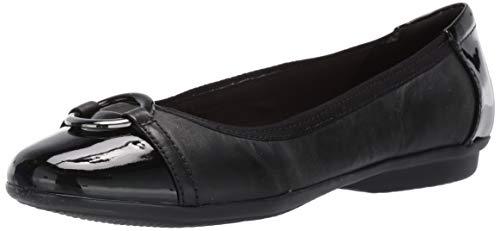 Clarks Women's, Gracelin Wind Flat Black/Patent 10.5 M