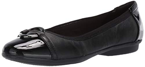 Price comparison product image CLARKS Women's Gracelin Wind Dress Flat Ballet,  Black Leather / Synthetic,  85 M US
