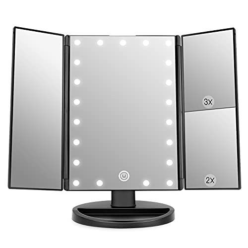 WEILY Lighted Makeup Mirror with 21 LED Lights, Trifold Vanity Mirror...
