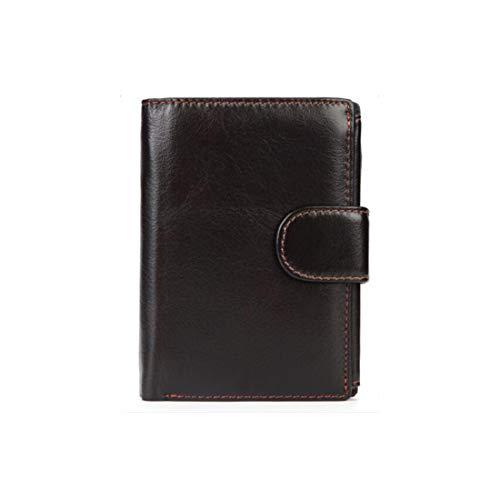 Wennew Billetera Monedero 3 Pliegues Minifalda Billetera para Hombre Prevención imantada RFID imitación Piel de Vaca (Color : Marrón Oscuro)
