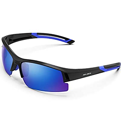 WOOLIKE Polarized Sports Sunglasses Driving Sunglasses for Men or Women Sunglasses for Cycling Running Hiking Fishing Golf Outdoor Sports RB841 (Bright Black&Blue&White Ice Blue)