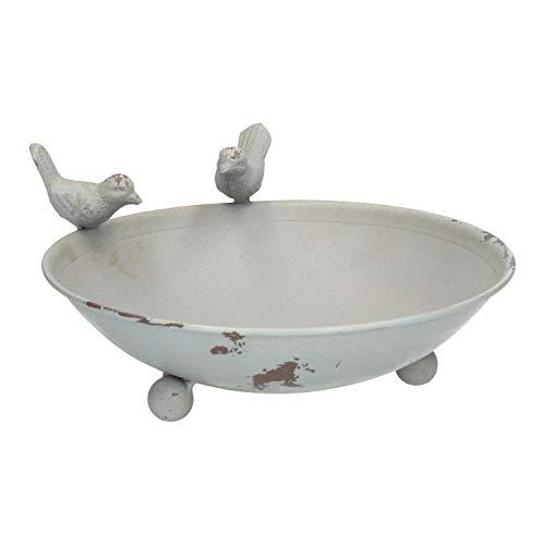 AmaCasa Vogeltränke Vogelbad Vogelbecken Wassertränke Tränke Wasserschale Metall (Grau)