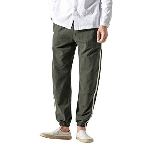Lange Herren Hose Cargo Jogging Pants sportliche Regular Fit Stoffhose Moderne Baumwollhose Leinenhose Bequeme Freizeithose f. Männer