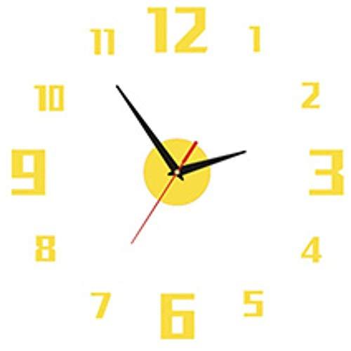 TFOOD muurstickers, 3D-design, goudkleurig, grote horloges, spiegel van acryl, zelfklevend, geschikt voor slaapkamer, woonkamer, kinderkamer, doe-het-zelf decoratie