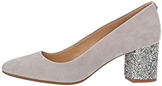Michael Michael Kors Womens Cher Flex Mid Pump Leather, Pearl Grey, Size 10.0