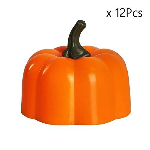 HIZLJJ 12pcs / Lot Lanterne Design Pumpkin Petite LED Durable Intérieur Lampe Bougie Lanterne Halloween Party Décoration