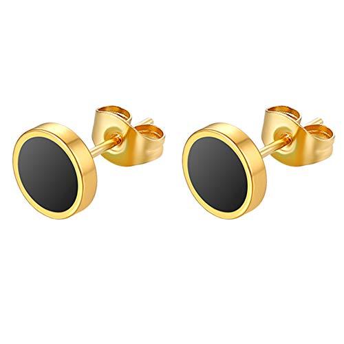 Flongo 6-12mm Pendientes hombre mujer, plateados negros pendientes de acero inoxidable, estilo Hip Hop redondos pendientes pequeños,color plateado negro dorado