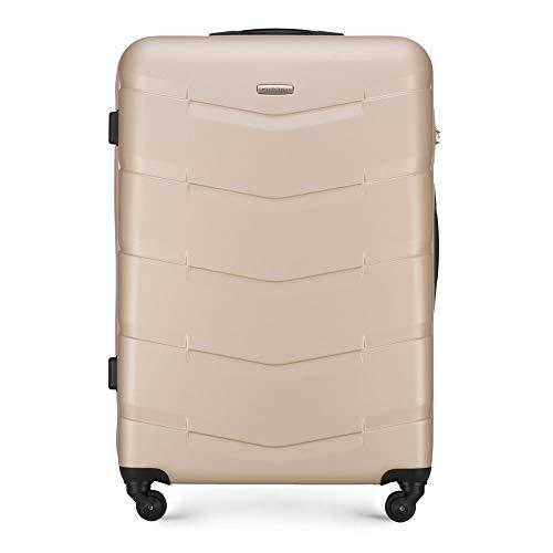 Wittchen Stabiler Koffer Trolley Großer Koffer Koffer 4 Lenkrollen Zahlenschloss Hartschalen Gummigriffe Beige