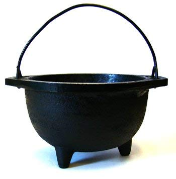 """New Age Imports, Inc. Cast Iron Cauldron w, Ideal for smudging, Incense Burning, Ritual Purpose, Decoration, Candle Holder, etc. (6"""" Diameter Handle, Inside, Black"""