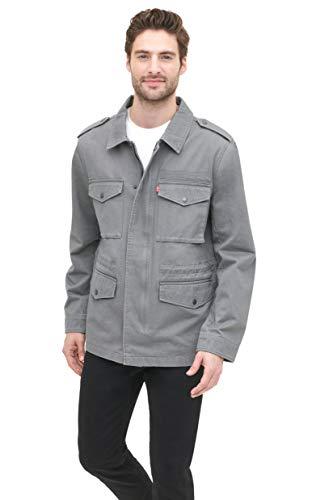 Levi's Herren Baumwolle Vier Taschen Ungefüttert Militär Jacke mit Siebdruck Logo - Grau - X-Large