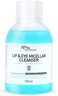 TROIAREUKE Lip and Eye Micellar Cleanser 3.38 Ounce, Korean Cruelty Free 2 in 1 Waterproof Makeup Lipstick Mascara Eyeliner Deep Cleansing Remover