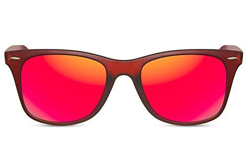 Cheapass Gafas de Sol Montura Marrón Mate Clásicas Cristales Rojos Espejados Patillas...