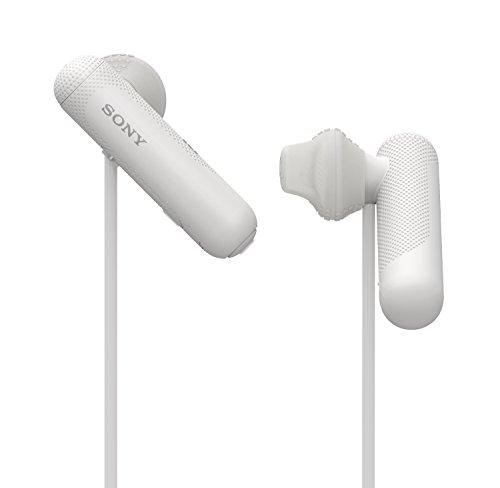 Sony WI-SP500 Kabelloser Sport Kopfhörer (Bluetooth, IPX4 wasserfest, bis zu 8 Stunden Batterielaufzeit, Freisprechfunktion), Weiß