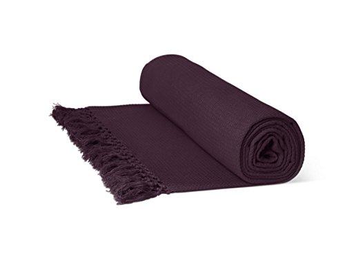 Just Contempo Überwurf/Tagesdecke, aus 100% Baumwolle, mit Wabenstruktur, extragroß, 100% Baumwolle, Purple (aubergine Damson Sofa Bed), Chair Throw 50