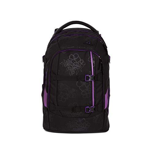 Preisvergleich Produktbild satch Pack Purple Hibiscus,  ergonomischer Schulrucksack,  30 Liter,  Organisationstalent,  Schwarz / Lila