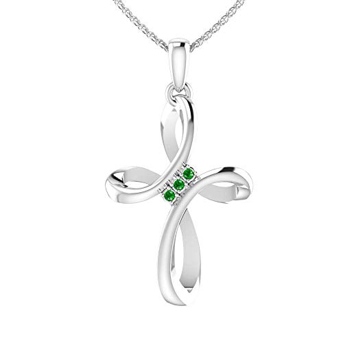 Sterling Silver Evermore Cross Pendant Necklace in 1/10 Carat Emerald with 18' Cable Chain, Silver Cross Pendant for Women, Polished Celtic Cross Necklace