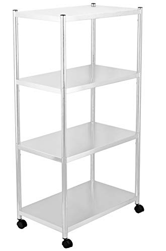 jepreco 4-Tier Stainless Steel Utility Shelving Unit with Wheels 236 L x 138 W x 435 H Adjustable Storage Shelf Cart for Kitchen Office Home Multi-Purpose Organizer Rack