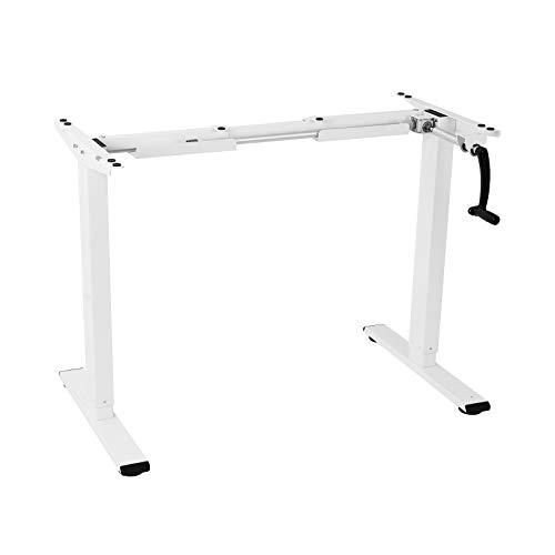 FLEXISPOT Mesa de manivela escritorio ajustable en altura, acero, 101,6 cm (40 ') (Blanco)