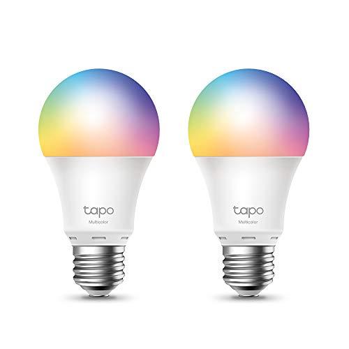 TP-Link Tapo L530E smarte WLAN Glühbirne E27, mehrfarbrig 8.7 W, kein Hub notwendig, kompatibel mit Alexa, Google Assistant, Abläufe und Zeitpläne, Abwesenheitmodus, Tapo App, energiesparend (2 Pack)