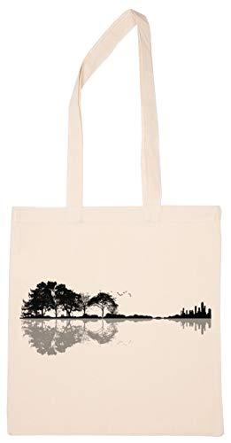 Gitarre Silhouette Gemacht Durch Natur Wiederverwendbar Einkaufen Lebensmittelgeschäft Baumwolle Tasche Reusable Shopping Bag