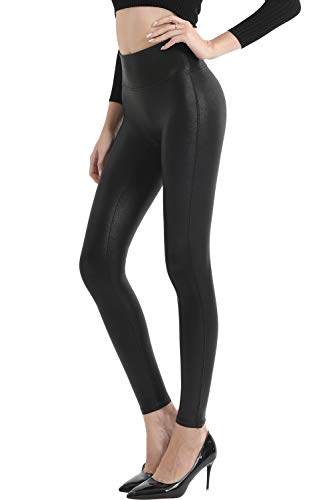 Retro Gong Womens Faux Leather Leggings Stretch High Waisted Pleather Pants(Black,L)