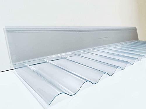 PVC Sinus Wellplatte 76/18-55cm Wandanschluss in glasklar - langlebig - PROFI QUALITÄT - Breite: 55 cm Profilseite: 24,5 cm Glatte Seite: 13,0 cm
