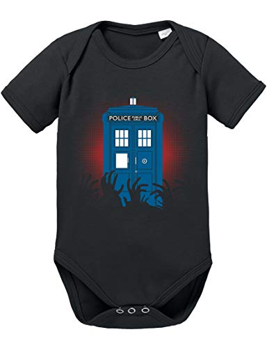Dr Zombie Doctor Baby Strampler Who Bio Baumwolle Body Jungen & Mädchen 0-12 Monate Tv Serie, Größe:68/4-6 Monate, Farbe:Schwarz