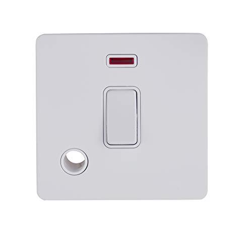 Schneider Electric GU2414WPW Ultimate Placa plana sin tornillos, interruptor de 2 polos, 1 banda, metal blanco
