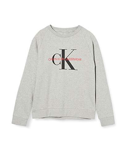 Tommy Hilfiger Sweatshirt Camiseta de Pijama, Grey Heather Bc05, 8/10 para Niños