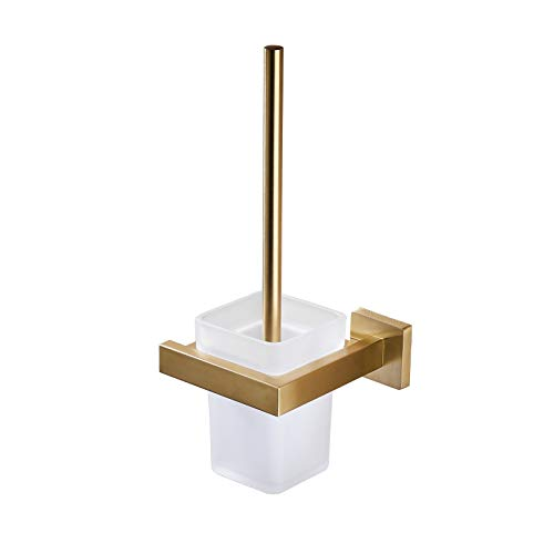 Toilet Brush with Holder Wall Mounted Stainless Steel Holder Glass Canister with Toilet Brush Luxury Toilet Brush Holder Set for Bathroom, Brushed Gold GT21109BG