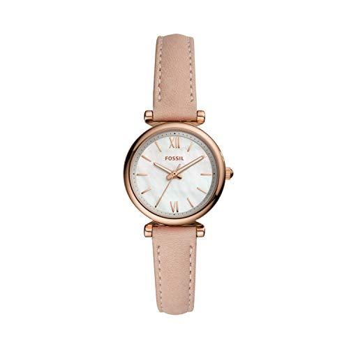 Fossil Women's Carlie Mini Quartz Leather Three-Hand Watch, Color: Pink (Model: ES4699)