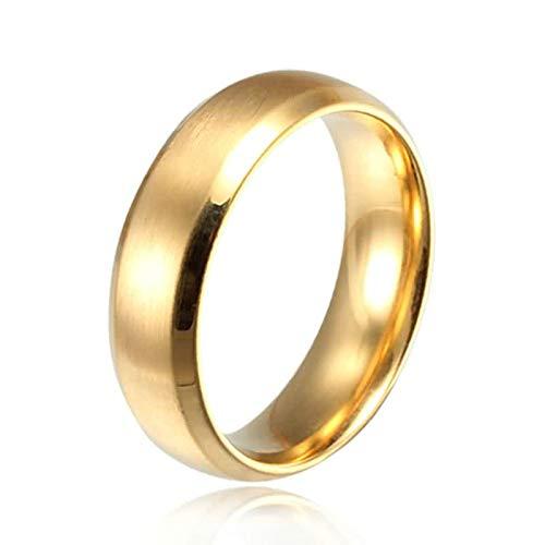 AnazoZ Acero Inoxidable Anillos para Hombre Mujer Anillo de Bodas Oro Alto Pulido 6MM Tamaño 20 (19,1 mm)