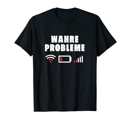 Baterías de smartphone vacías, sin recepción ni wifi, verdaderos problemas. Camiseta