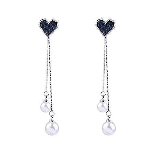 TLBB Perla Coreana Azul cristalino Amor Corazones Borla Larga Gota Pendientes para Mujeres Moda Gota Pendiente Encanto joyería de Lujo Pendientes