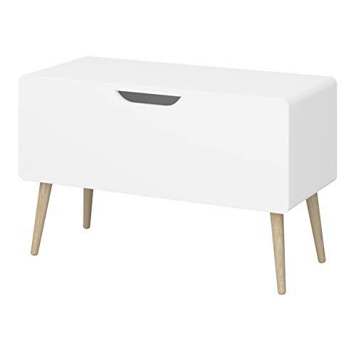 Loft24 A/S Spielzeugkiste Aufbewahrungsbox Spielzeugtruhe Truhenbank Kinderbank Spielzimmer Kinderzimmer (Weiß lackiert)