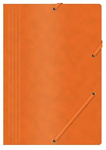 OFFICE PRODUCTS Mappe mit Gummiband Presspan/ Karton A4 390 GSM, 3X Orange, Eckspannermappe Gummizug, Sammelmappe für Dokumente, Aufbewahrungs-Zeichen-Mappe, Aufbewahrungs-Mappe