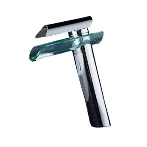 Tegelvormige high-style kraan koper warm en koud enkele gat tegel glas kunst waterval badkamer wastafel diafragma 32 MM tot 40 MM kan worden geïnstalleerd Liuyu.