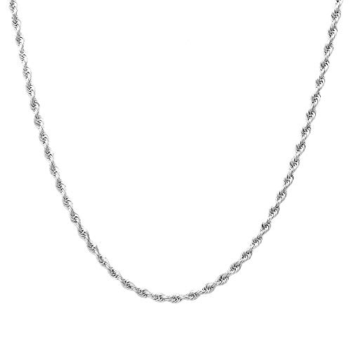 Sterling Silver 2mm diamond cut rope chain necklace- Made In Italy (Silver, 18)