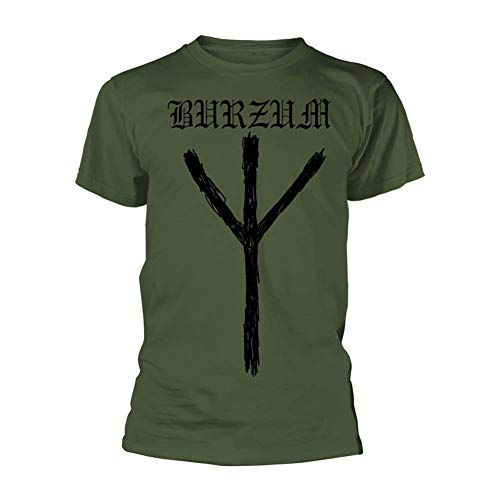 Burzum T Shirt Rune Band Logo Nuovo Ufficiale Uomo Verde Size XL
