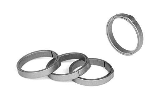 TISUR EDC Titanium Keyring, Side-Pushing Designed (4-Pack) Key Chain Key Rings Holder Split Rings, Group Your Keys, Gray, Small