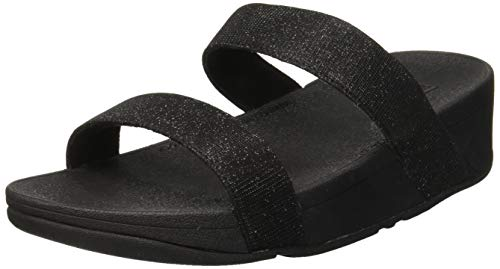 Fitflop Lottie Glitzy Slide, Sandalias con Punta Abierta para Mujer, Negro (Black 001), 37 EU