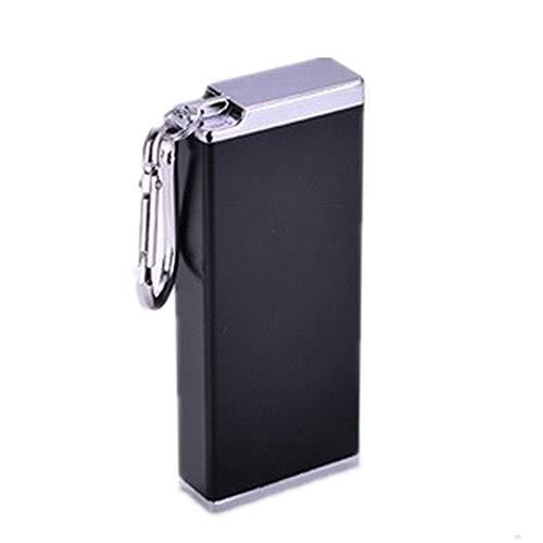 携帯灰皿 メタル キーホルダー アッシュトレイ ポータブル はいざら ふた付き 車用灰皿 大容量 防水 携帯便利 (ブラック)