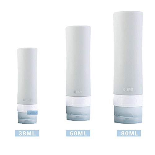 Beaviety Lot de 3 flacons de Voyage en Silicone pour shampoings, lotions et Articles de Toilette, Gris Clair, 38ml+60ml+80ml