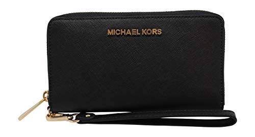 "Size Approximate Measurements: 7"" (L) x 4"" (H) x 1"" (W) Zip Around Closure, Gold Tone Hardware, Black Color 1 zip pocket, 2 bill compartments and 6 card slots. 6"" strap can use as wristlet"