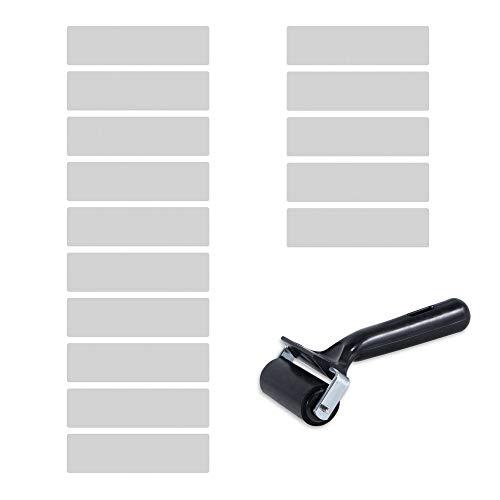 15 x Anti Rutsch Streifen | Sossai SCALIO SOFT (Breite 20cm x Länge 65 cm) inkl. GRATIS Rollerwalze | Stufenmatte Treppenschutz Boden Kante | transparent | Selbstklebend